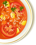 Tomato soup. Delicious tomato soup with rice Royalty Free Stock Photo