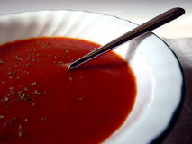 Tomato Soup. A bowl of Tomato Soup with Basil Royalty Free Stock Image