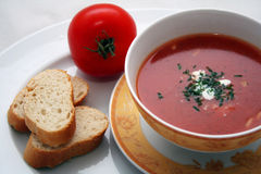 Tomato Soup. Delicious tomato soup with a fresh red tomato and bread slices stock photography