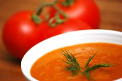 Tomato soup. Fresh vegetable soup with tomatoes Stock Photos