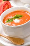 Tomato soup. Closeup of bowls of delicious tomato soup garnished with cream and basil leaves Stock Image