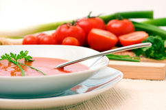 Tomato Soup. A fresh healthy bowl of tomato soup Royalty Free Stock Image