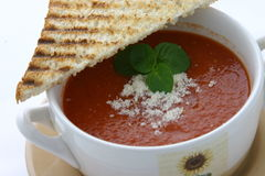 Tomato soup. Breakfast setup, bowl of tomato soup Royalty Free Stock Photo