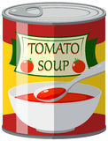 Tomato soup in aluminum can. Illustration Stock Photos
