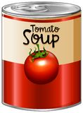 Tomato soup in aluminum can. Illustration Royalty Free Stock Photo