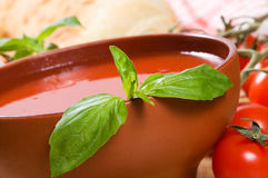 Tomato soup with basil Royalty Free Stock Images