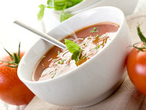 Tomato soup with basil Royalty Free Stock Photos