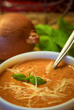 Tomato soup with basil and cheese. Tomato soup in a white bowl garnished with basil and cheese.  Onions and basil are in the background Royalty Free Stock Images