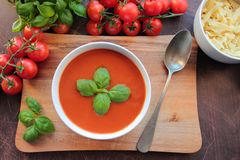 Tomato soup with basil Stock Photography