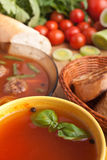 Tomato soup with basil and meatballs Royalty Free Stock Photography