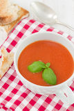 Tomato soup with basil Royalty Free Stock Image