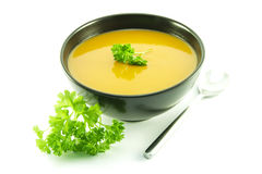 Tomato Soup in a Black Bowl Royalty Free Stock Images