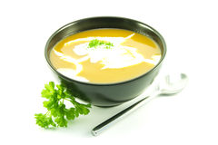 Tomato Soup in a Black Bowl Royalty Free Stock Photography