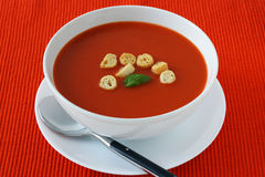 Tomato soup in a bowl Stock Image