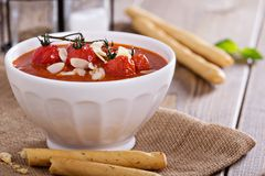 Tomato soup in a bowl Stock Images