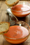 Tomato soup in bowl Stock Images