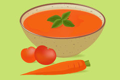 Tomato soup in a bowl Stock Photos