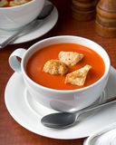 Tomato Soup. A bowl of delicious tomato soup with home made croutons Royalty Free Stock Photo