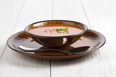 Tomato soup bowl Royalty Free Stock Images