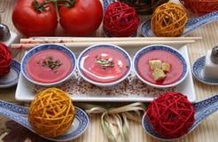 Tomato Soup Bowls Stock Photography