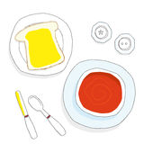Tomato Soup and Bread. Bowl of tomato soup with bread and butter, cutlery and salt and pepper condiment pots in a hand drawn style viewed from overhead Royalty Free Stock Photos