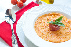 Tomato soup with bread , garlic , oil , salt and pepper Stock Image