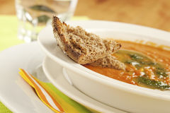 Tomato soup with bread a side Royalty Free Stock Photos
