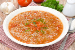 Tomato soup with buckwheat Royalty Free Stock Photo