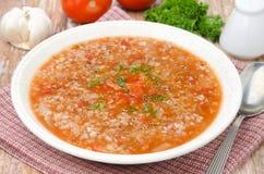 Tomato soup with buckwheat Royalty Free Stock Photo