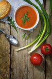 Tomato soup with bun, green onions and arugula garnish on rustic Stock Photography