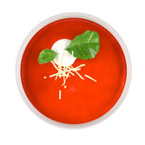 Tomato soup in ceramic bowl isolated top Stock Images