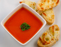 Tomato soup and cheese sandwich Royalty Free Stock Image
