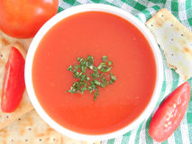 Tomato Soup. With coriander garnishing, in a bowl Stock Photos