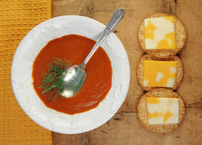 Tomato Soup with Crackers and Cheese Stock Photo