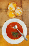 Tomato Soup with Crackers and Cheese Royalty Free Stock Image