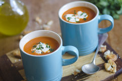 Tomato soup. Cream of tomato soup with chives royalty free stock photo