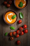 Tomato soup. With cream and fresh basil Royalty Free Stock Photo