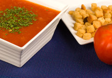 Tomato soup and croutons Royalty Free Stock Images