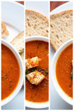 Tomato soup and croutons Stock Photos