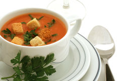 Tomato soup with croutons in ceramic bowl Stock Photo