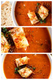 Tomato soup and croutons collage Royalty Free Stock Image