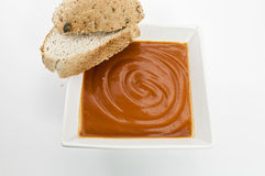 Tomato soup with Crusty Bread Royalty Free Stock Image
