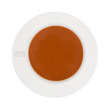 Tomato Soup In Cup Saucer Top View Stock Photos