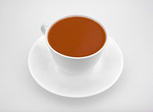 Tomato Soup In Cup Saucer On White Cutting Board Royalty Free Stock Photography