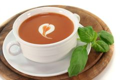 Tomato soup with a dollop of cream Stock Photo