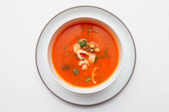 Tomato soup with fish and shellfish shot from above. Tomato soup with fish and shellfish on white table cloth, shot from above Stock Image