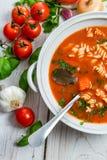 Tomato soup and fresh ingredients Stock Photos
