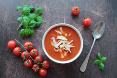 Tomato soup with fresh tomatos and basil Stock Photo