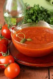 Tomato soup with fresh vegetables and capers Royalty Free Stock Photo
