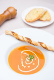 Tomato soup with garlic bread Royalty Free Stock Photo